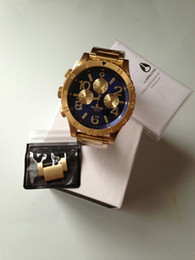 Wholesale 2015 New Arrivals A486 mens quartz casual chrono watches Blue Gold Fashion Wristwatches with original box christmas gift