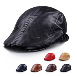 Perfect! Unisex 2016 New Spring boina Artificial Leather Pure Color Man Cap Man Hat Beret Fashion Hat For Men gorro