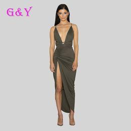 Wholesale Best quality deep V neck women bodycon dress hot selling long sleeve Irregular dresses sexy clothing Army Green Khaki black