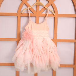 2016 Kids Girls Singlet Lace dresses Baby girl Ruffle princess dress babies wholesale clothing