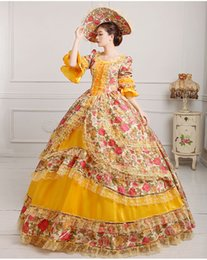 luxury ruffled floral 9 colors lflowers flare sleeve medieval dress with hat renaissance Gown queen princess dress lolita Belle Ball gown