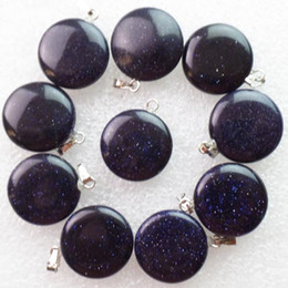 Wholesale Interesting New Carved Blue Sand Stone Obsidian Round Natural Gemstone Pendant Bead