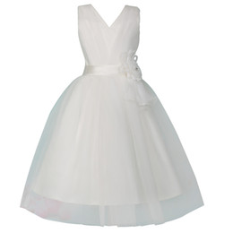 V Neck Glitz Pageant Dresses For Little Girls Two Layers Flower Girl Dress White First Communion Dresses For Girls