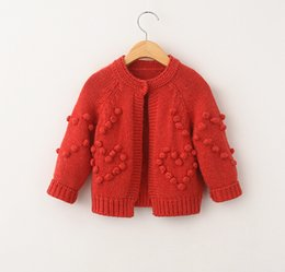 Wholesale Girls Sweater Coat Winter New Fashion Style Pure Colour Kids Casual Cardigan With Balls Children Knitted Jacket Fit Age3 T935