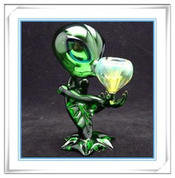 Wholesale Glass Pipe Alien Glass Water Smoking Pipe Excellent Pipe Glass Bong Green Brown Assorted CM Height