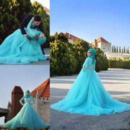 Romantic Long Sleeves High Neck Muslim Wedding Dresses with Keffiyeh 2015 Sky Blue Tulle Lace Crystal Bridal Gowns Hijab Vestido De Noiva