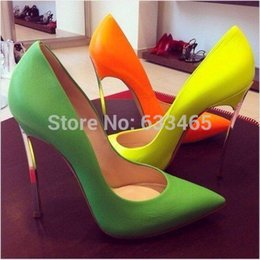Wholesale-2015 High heel Shoes Fashion neon Yellow orange green Candy color pumps Lady party Dress pumps