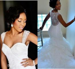 Modest Mermaid Wedding Dresses See Through Ruffles Appliques Wedding Dress Custom Made Ruffles Vestidos Cheap Bridal Gowns
