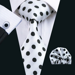 Black Dot White Tie Hankerchief Cufflinks Set for Men Classic Silk Meeting Business Casual NecktieJacquard Woven N-1057