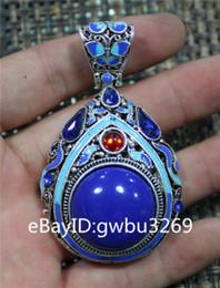 Exquisite Tibetan silver cloisonne pendant with zircon