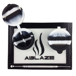 Wholesale ABLAZE Black White Silicone Concentrate Oil BHO Wax Butane Honey Shatter Proof Errl Container Pad Mat Jar Tool Slick Sticky Nonstick Dab
