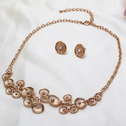 Wholesale 2015 New Rattan Outdoor Furniture Wicker Furniture Antique Jewelry Set Flower Earrings Foreign Trade Popular Alloy Rhinestone Necklace Suit