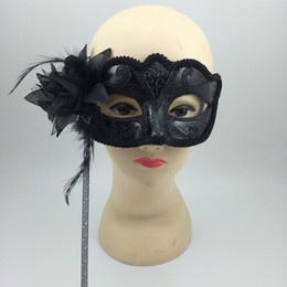 New Sexy Black Masks on Stick Flower Aside Half Face Venetian Masquerade Party Mask Halloween props Novelty gifts free shipping