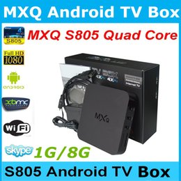 Wholesale MXQ TV BOX Amlogic S805 Mini PC Quad Core Android Kitkat K HDMI H GB GB XBMC KODI Fully Loaded WIFI Airplay Miracast D DHL