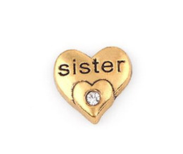 20PCS lot Gold Color Crystal Sister Letter DIY Heart Floating Locket Charms Fit For Glass Living Magnetic Locket