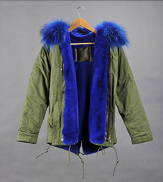 Wholesale Real pictures blue fur MR mrs itlay canvas parka Mr Mrs furs rabbit fur lined mini parka With Raccoon fur
