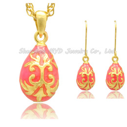 Pure Color Flower Necklace Earrings sets Faberge Egg Style Russian Hand Color Enamel Pendant Necklace Drop Earrings For Ladies Easter Day