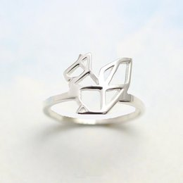 10PCS- R025 Cute Squirrel Rings Simple Paper Origami Squirrel Ring Outline Modern Minimalist Animal Rings for Ladies Women