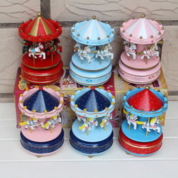 Wholesale 5pcs Carousel Music Box Bless Animated Horse Wooden Merry Go Round Musical Swings Carousels Classic Music Box Hot Toys For Kids