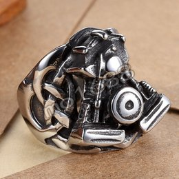Boy's Motorcycle Silver Finger 361L Stainless Steel Engine Biker Ring Size 7-13