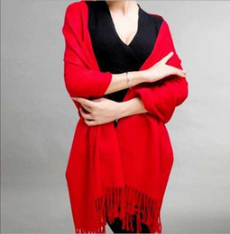Luxury Ladies Plain Cashmere Imitation Tassel Neck Scarf Womens Long Scarves Clothing Big Plain Pashmina Shawl Neck Warmer For Gift Sale
