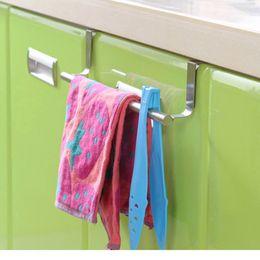 Wholesale Hot sale Stainless Steel Towel Bar Holder Over the Kitchen Cabinet Cupboard Door Hanging Rack Storage Holders Accessories