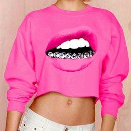 Wholesale harajuku D Diamond teeth big mouth women s sweatshirt sexy crop tops leisure loose tracksuits fitness jogging fashion hoodies