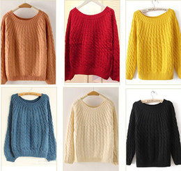 Hot Sale New Knit Pullovers Sweaters for Women 2015 Fashion Autumn & Winter Loose vintage twist Knitted Outerwear 8 colors