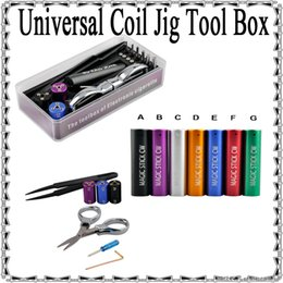 Wholesale Colorful Universal Coil Jig Tool Box in magic coil rda coil kit With Tweezers Scissor Screwdriver DIY RDA RBA make atomizer