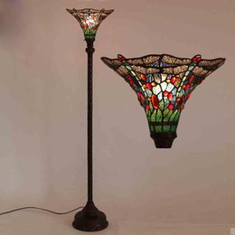 Wholesale Tiffany Dragonfly Floor Light Unique Style Antique Fashion Art Stained Glass Tiffany Floor Lamp Coffee Bar Sofa Stands Light Fitting LED