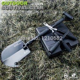 Wholesale DHL Multifunctional folding shovel for outdoor camping tool camping fishing hunting survival car enthusiast