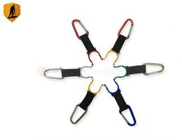 Wholesale Clip Water Holder - Wholesale-Pasajero 6Pcs Aluminum Carabiner Water Bottle Drink Buckle Hook Holder Clip Camping Hiking Outdoor Key Chain Multicolor Colorful