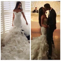Wholesale 2016 Glamorous Alan Khan Fashion Mermaid Wedding Dresses Organza Tiered Skirts Bridal Gowns Lace Ruffles Pearls Beaded Bridal Gowns