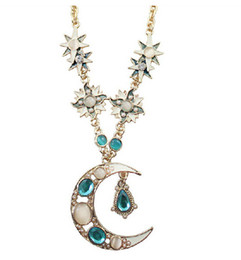 New Fashion Vintage Steampunk Necklace Women Gold Long Necklaces With Moon Star Pendant S94358