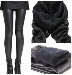 Wholesale A387 women winter leggings new fashion autumn winter black double Beaver velvet warm leggings ladies faux leather pants L XXL plus size