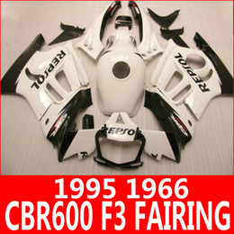 Pure white REPSOL motorcycle fairing kit for Honda 95 96 CBR600 F3 fairings CBR 600 F3 1995 1996 body parts