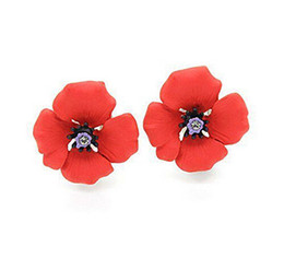 Fashion Vintage Silver Tone Red and Black Rhinestone Crystal Emerald Flower Poppy Jewelry Earrings Women Gifts