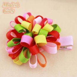 2015 New Children Jewelry Flower Design Colors Hair Clip Ribbon Floral Hairpins Good Quality Kids Hair Accessories