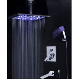 Wholesale And Retail Promotion LED Color Changing quot quot quot quot Rain Bathroom Shower Faucet Bathtub Mixer Hand Shower Tap