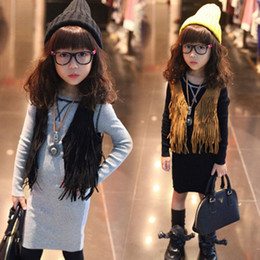 Wholesale 2016 Girls Sleeveless Tops Cardigan Children Clothing Child Tank Top Kids Clothes Kid Fringe Vest Jacket Spring Summer Brown Black