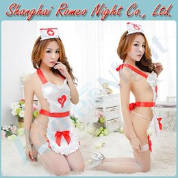 Wholesale Midnight Nurse Knows Uniforms Best Peekaboo Nurse Costume w Fishnet Stockings Female Sexy lingerie Costumes