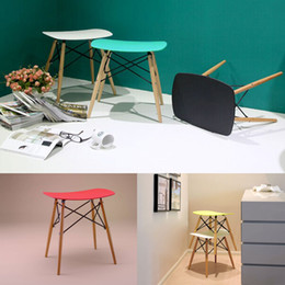 Wholesale Eames stool Wood Plastic chair wood dining chair living room furniture Wait stool bar stool dining chair