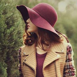 Wholesale-New Ladies Women's Beach Sun Hats Floppy Wide Large Brim Cloche Bowler Pure Woolen Cap