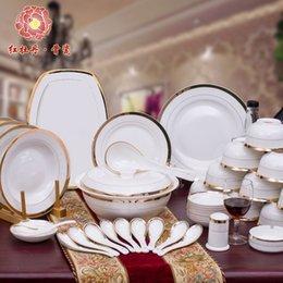 Wholesale Pretty Good China Crockery Luxury Fashion Dinnerware Set of Bone China Porcelain On glazed Gold Inlay Dinner Dishes Plates