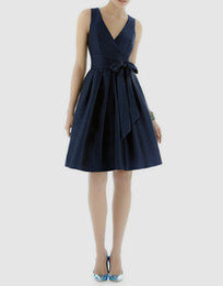 Satin Sleeveless Short Bridesmaid Dresses Cheap V-neck with Sash Knee Length A-line Zipper Wedding Party Dress