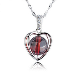 Free shipping 925 sterling silver jewelry crystal charm red pomegranate double heart pendant necklace woman new arrival