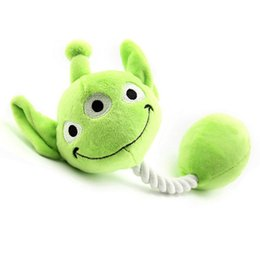 Wholesale Cute Three Eyes Monster Plush Woven Material Abrasion Proof Pet Dog Rope Toy Chew Squeaky Dog Toy Xmas Gift
