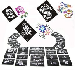 Wholesale 50 Mixed Design Sheets Stencils for Body Painting Glitter Temporary Tattoo Kit Latest Templates