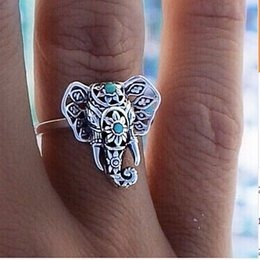 Wholesale 2015 New Arrival Chirstmas Gift Elephant Ring Vintage Tibetan Silver Plated knuckle Joint Ring Beach Ring