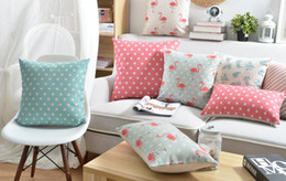 Wholesale Flamingo Custom Cushion Covers pink and Blue Dot Geometric Stripe Sofa Chair Pillow Case Leaf pillow cover decoration Gift